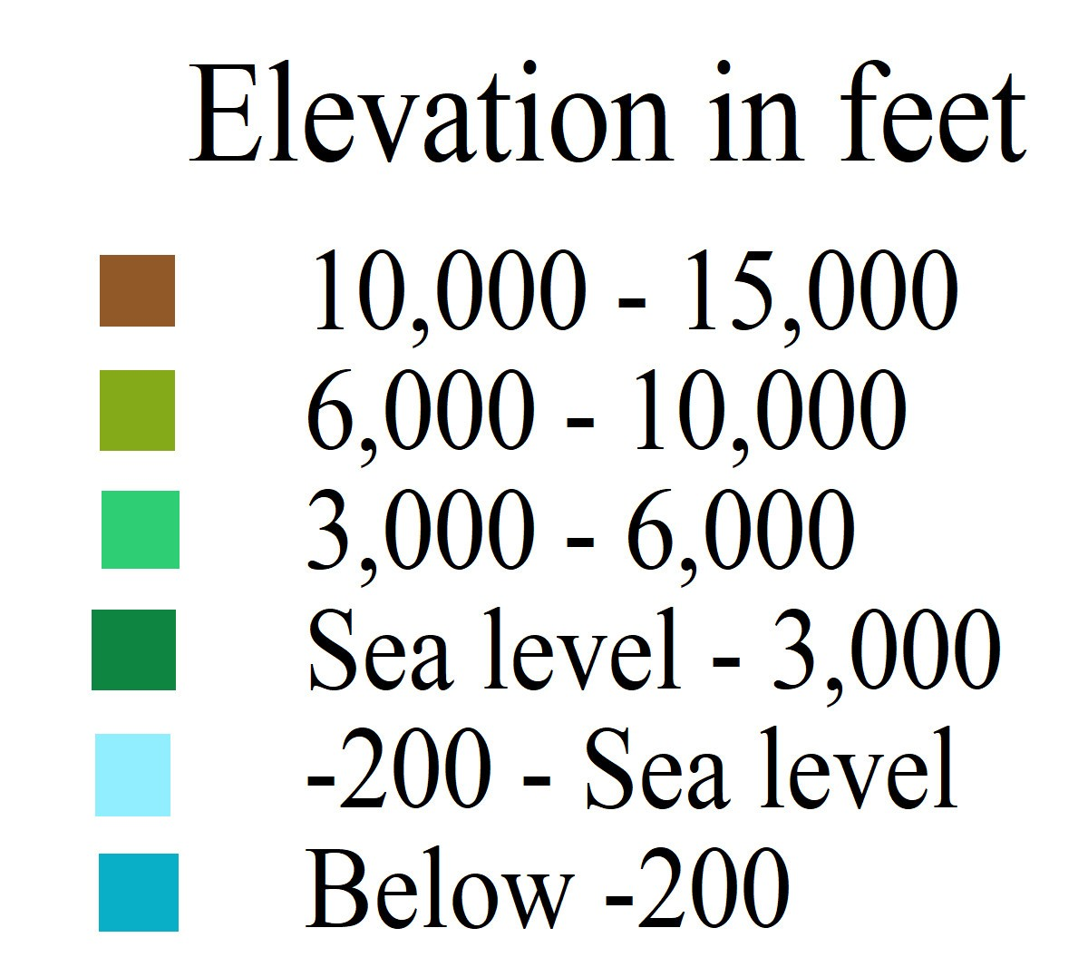 Color table for the Elevation map.